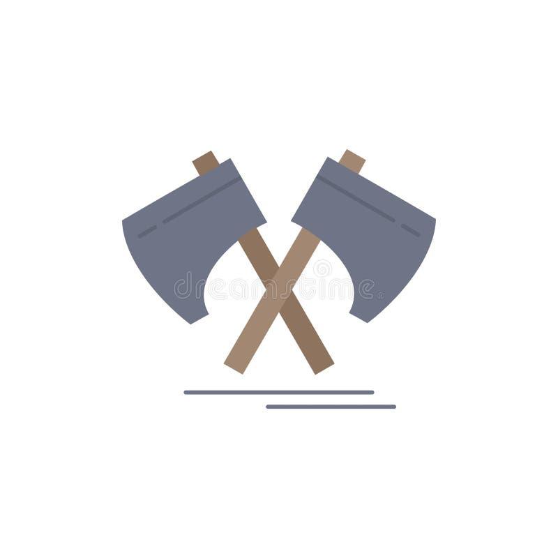 Axe, hatchet, tool, cutter, viking Flat Color Icon Vector stock illustration