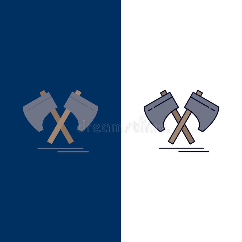 Axe, hatchet, tool, cutter, viking Flat Color Icon Vector royalty free illustration