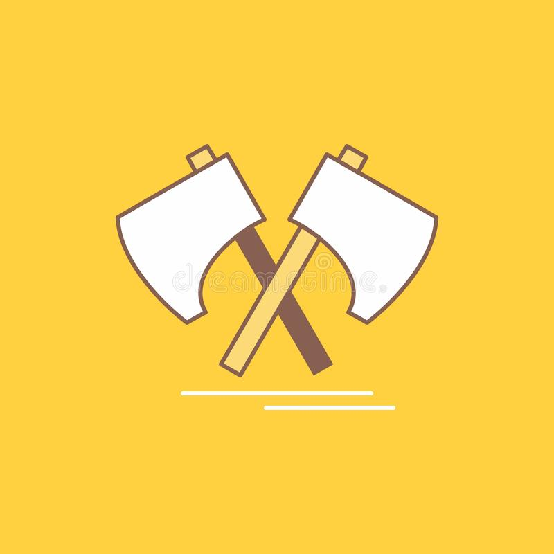 Axe, hatchet, tool, cutter, viking Flat Line Filled Icon. Beautiful Logo button over yellow background for UI and UX, website or. Mobile application. Vector vector illustration