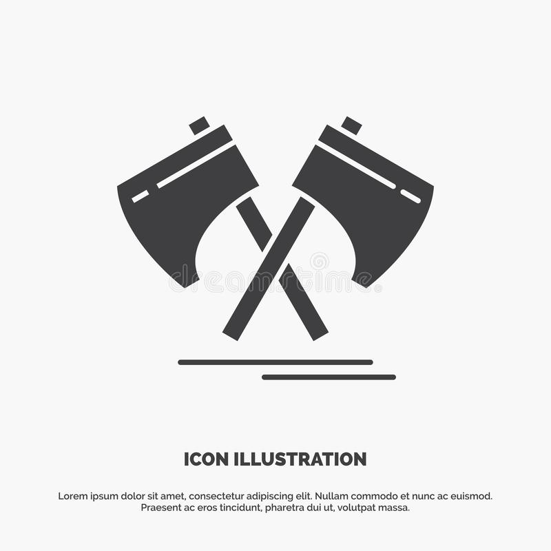 Axe, hatchet, tool, cutter, viking Icon. glyph vector gray symbol for UI and UX, website or mobile application. Vector EPS10 Abstract Template background vector illustration