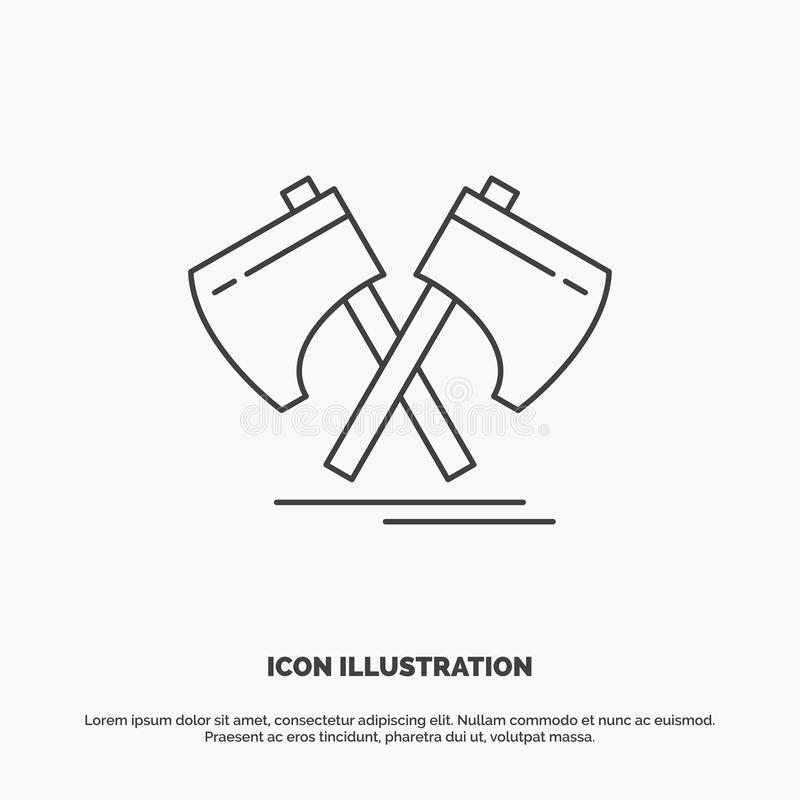 Axe, hatchet, tool, cutter, viking Icon. Line vector gray symbol for UI and UX, website or mobile application. Vector EPS10 Abstract Template background stock illustration