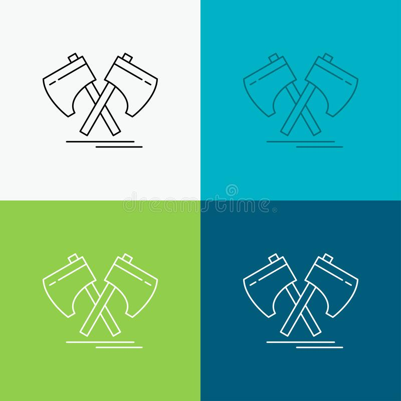 Axe, hatchet, tool, cutter, viking Icon Over Various Background. Line style design, designed for web and app. Eps 10 vector. Illustration. Vector EPS10 Abstract vector illustration