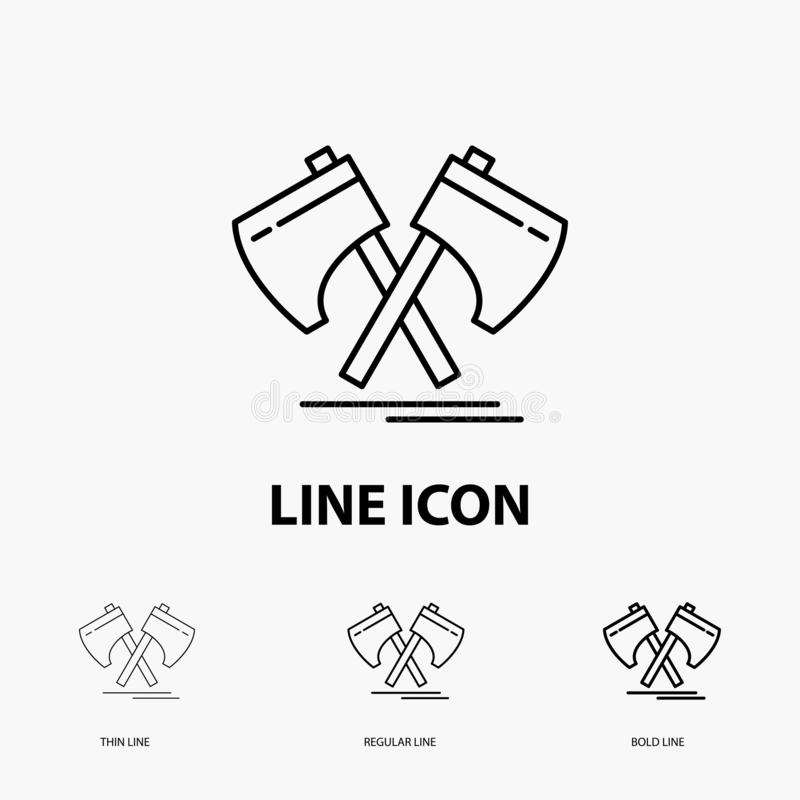 Axe, hatchet, tool, cutter, viking Icon in Thin, Regular and Bold Line Style. Vector illustration. Vector EPS10 Abstract Template background royalty free illustration