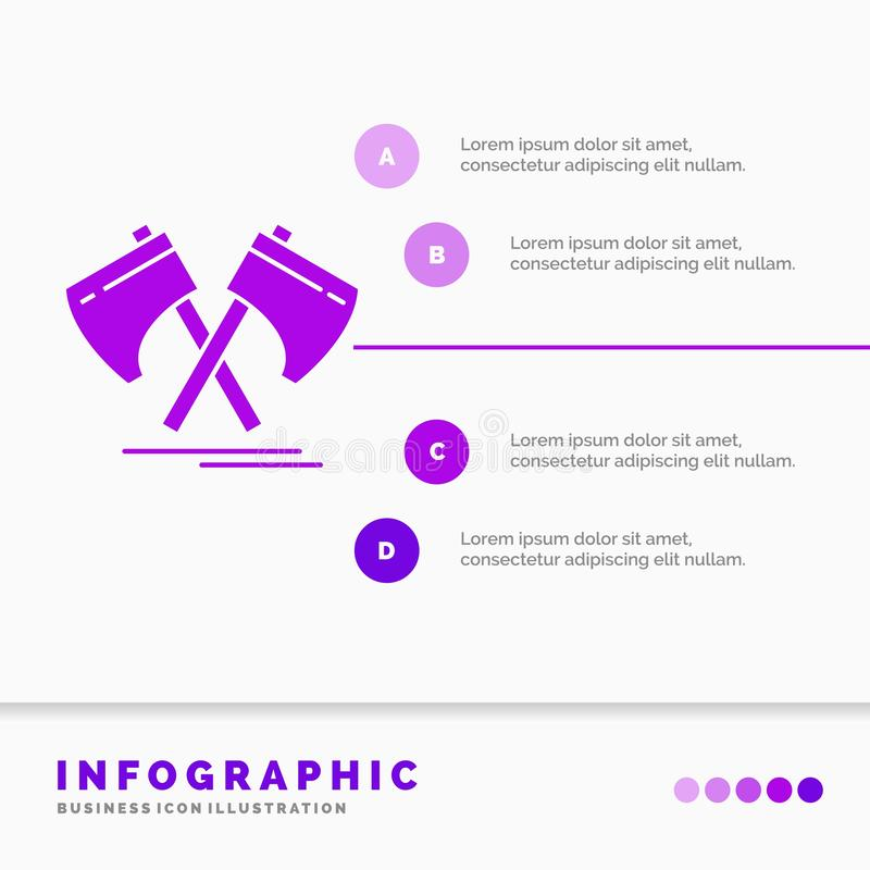 Axe, hatchet, tool, cutter, viking Infographics Template for Website and Presentation. GLyph Purple icon infographic style vector. Illustration.. Vector EPS10 royalty free illustration