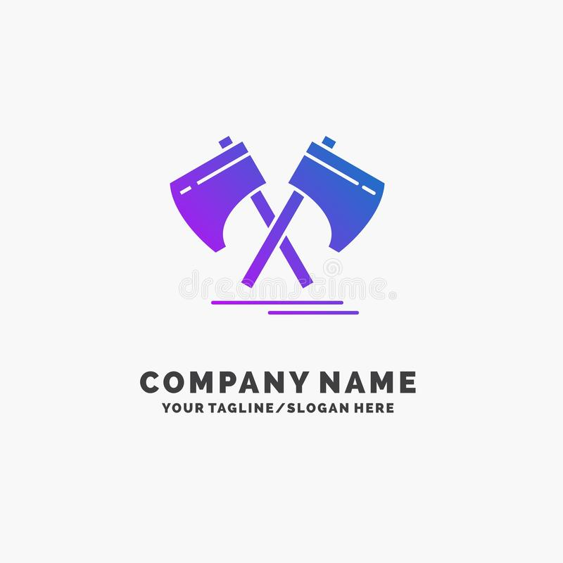 Axe, hatchet, tool, cutter, viking Purple Business Logo Template. Place for Tagline. Vector EPS10 Abstract Template background vector illustration