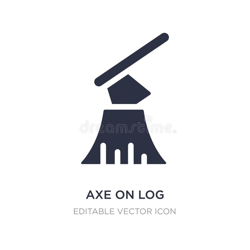 axe on log icon on white background. Simple element illustration from Buildings concept vector illustration