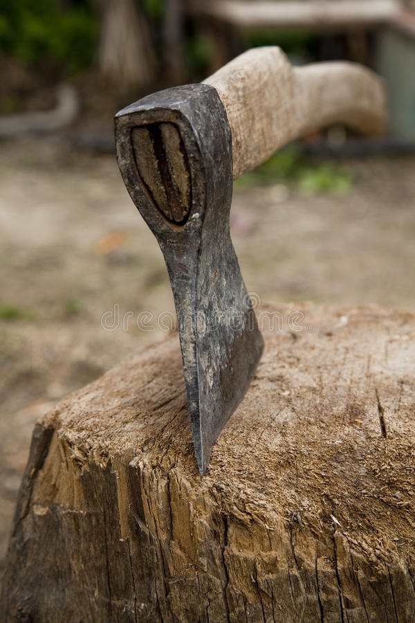 Axe  In Old Used Stump Stock Image
