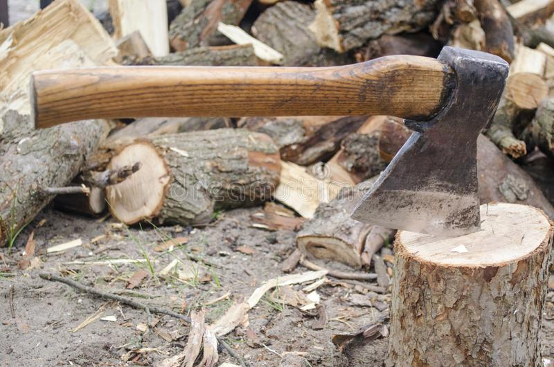 Axe in stump. Axe ready for cutting timber.Woodworking tool. Lumberjack axe in wood, chopping timber. Travel, adventure, camping g stock photography