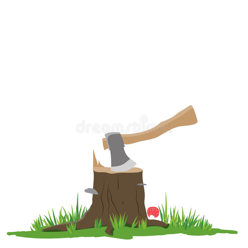 Axe in the stump royalty free illustration