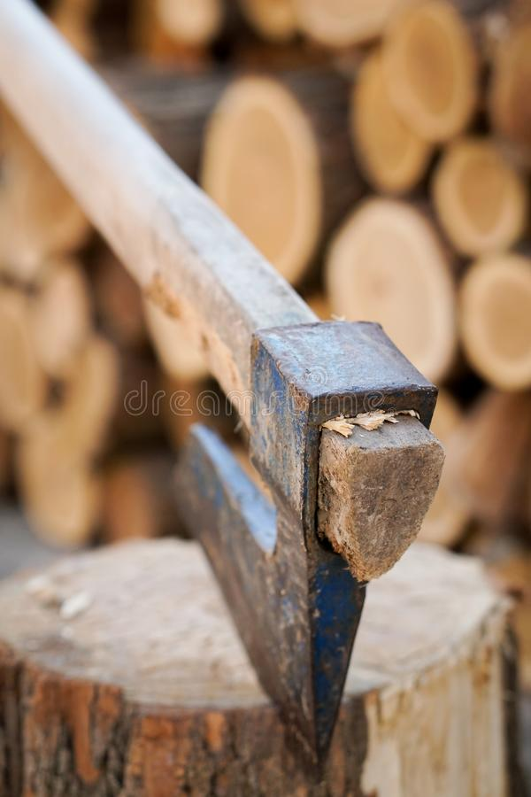 Axe in wood. With blurred background stock photos