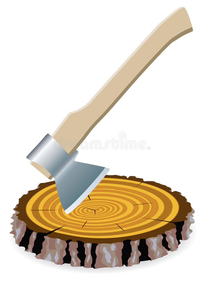 Download Axe and a wooden cut stock vector. Illustration of graphic - 14222414