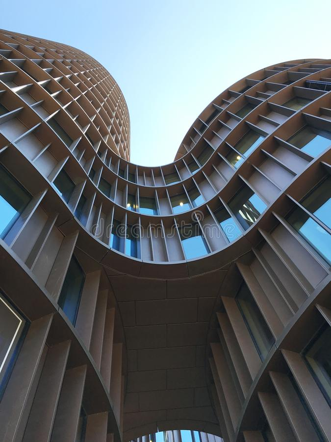 Axel Towers ist ein moden Büro- und Mallgebäude, das von Lene Tranberg vom award-winning dänischen Architektenunternehmen Lundgaa lizenzfreies stockbild