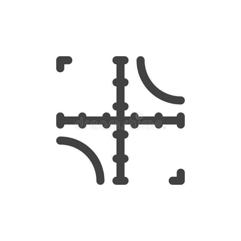 Axelsymbolsvektor, fyllt plant tecken, fast pictogram som isoleras på vit vektor illustrationer