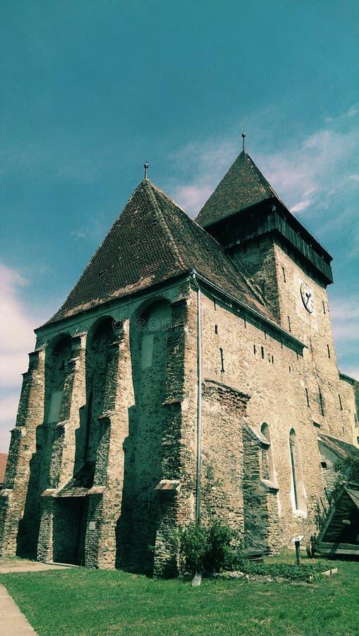 Axente Sever church. Exterior view of Axente Sever Saxon church in Transylvania, Romania stock photo