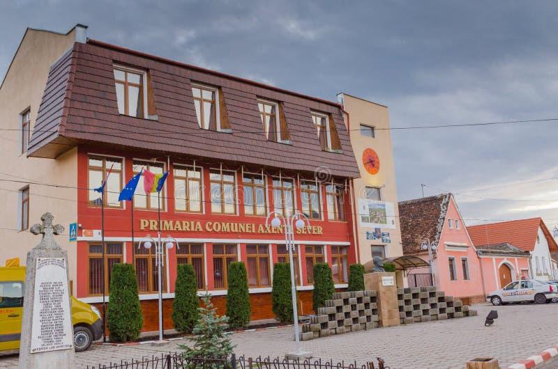 Axente Sever City hall. Axente Sever is a commune located in Sibiu County, Romania, named after Ioan Axente Sever stock photos