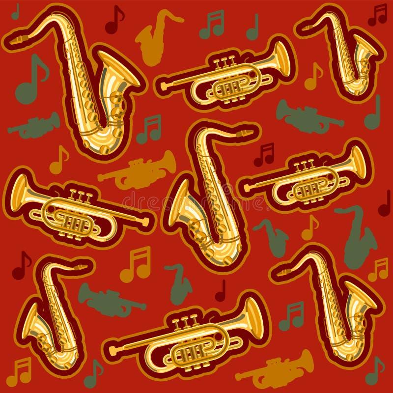 Axophone and cornet pattern royalty free illustration