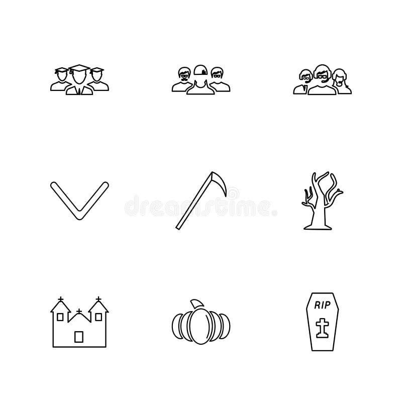 axr, scheurt de boom, graf, Halloween, kerkhof, verschrikking, eps i stock illustratie