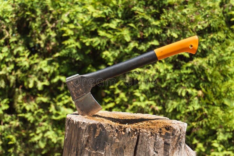 Axt im Stumpf Axt bereit zum Schnitt des Bauholzes Holzbearbeitungswerkzeug Holzfälleraxt im Holz, Bauholz hackend Reise, Abenteu stockfoto