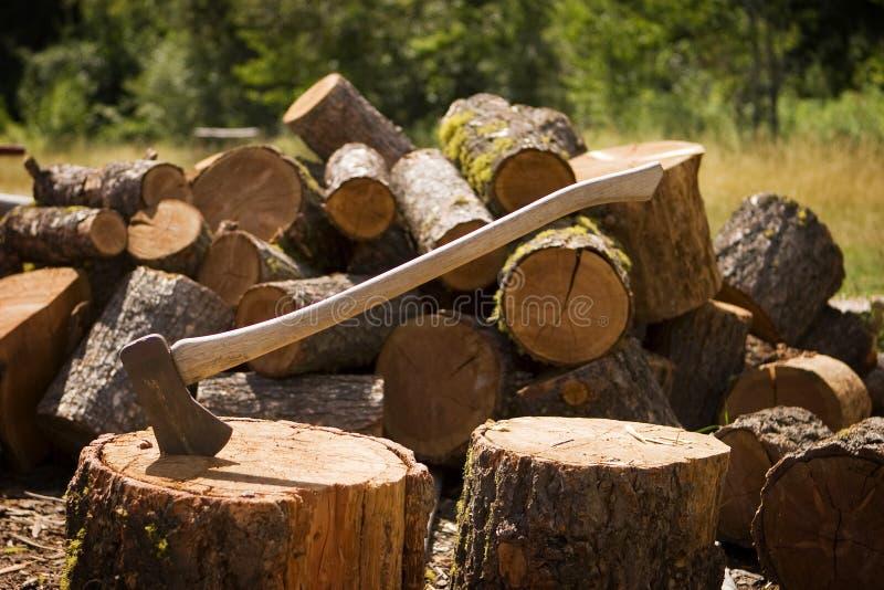 Axt mit gehacktem Holz lizenzfreie stockbilder