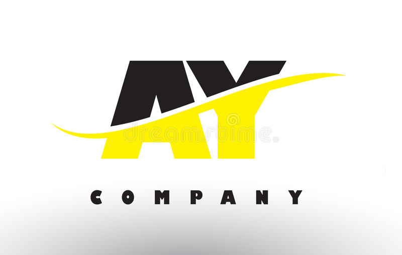 AY A Y Black and Yellow Letter Logo with Swoosh. vector illustration