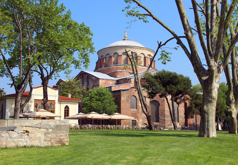 Aya Irini church in Istanbul, Turkey. Hagia Irene church (Aya Irini) in the park of Topkapi Palace in Istanbul, Turkey stock photo