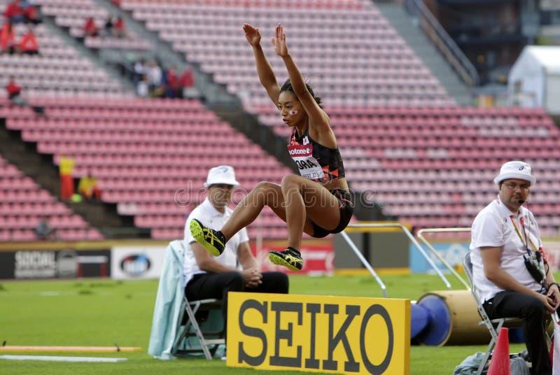 AYAKA KORA från Japan segersilvermedaljen i längdhoppet på mästerskapen för IAAF-värld U20 på Juli 13, 2018 arkivbild