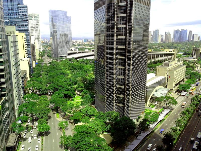 Ayala triangle in ayala, makati city, philippines. Aerial view of ayala triangle along ayala avenue in makati city in philippines, asia stock images