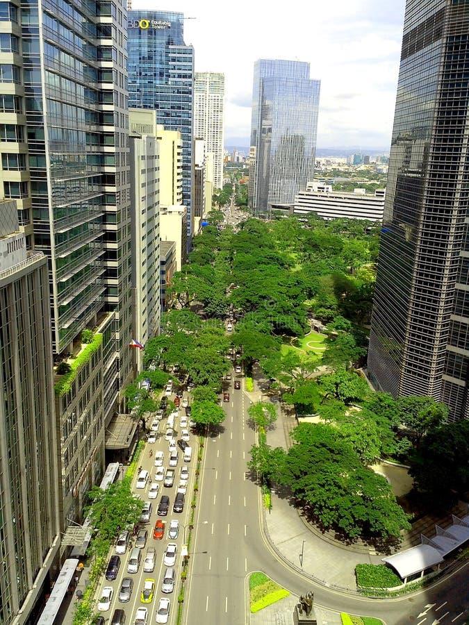Ayala triangle in ayala, makati city, philippines. Aerial view of ayala triangle along ayala avenue in makati city in philippines, asia stock photos
