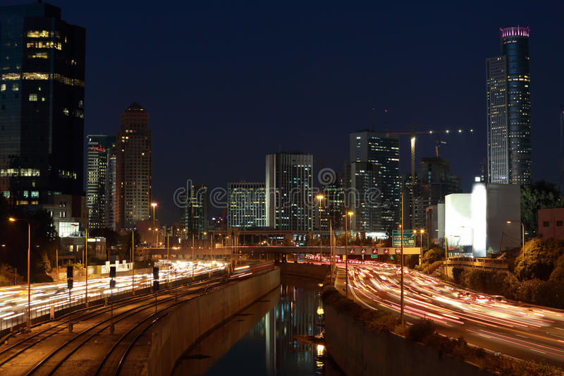 Ayalon freeway & Ramat Gan, Israel. After sunset stock image