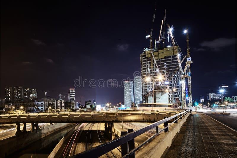 Ayalon Tel Aviv nocy drogowego widoku panoramiczna fotografia fotografia royalty free