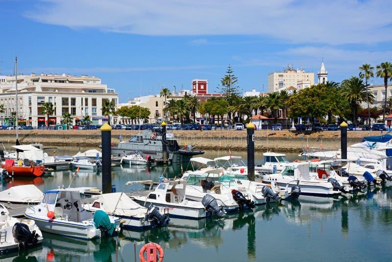 Ayamonte marina och stad, Spanien royaltyfri bild
