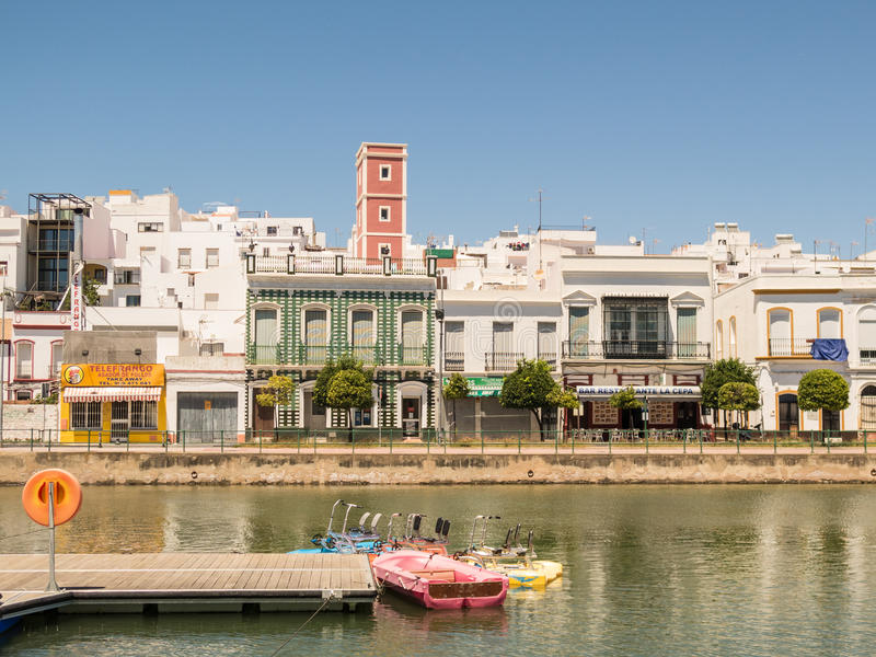 Ayamonte river bank and paddle boats for hire stock images