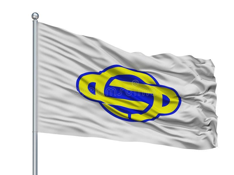Ayase City Flag On Flagpole, Japón, prefectura de Kanagawa, aislada en el fondo blanco ilustración del vector