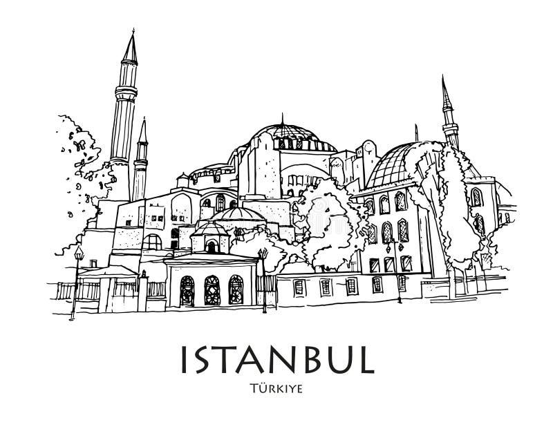 Ayasofya (圣索非亚大教堂),伊斯坦布尔,土耳其 手创造了剪影 皇族释放例证