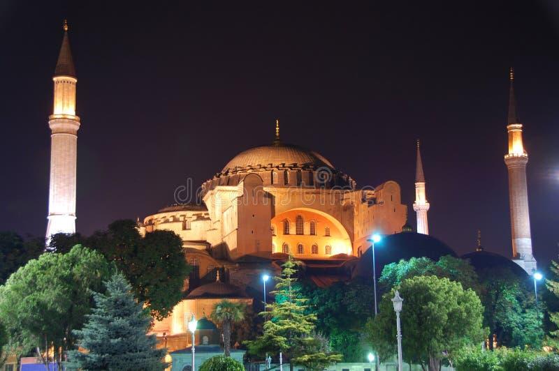 Ayasofya church, Istanbul Turkey. The 1400 hundred year old Ayasofya church glowing at night, Istanbul Turkey royalty free stock images