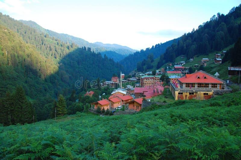 Ayder village, Kackar Turkey. The beautiful village Ayder in the Turkish mountain area on a sunny morning stock photos