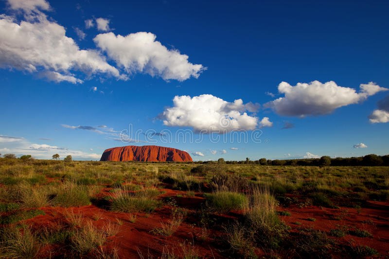 Ayers Rock. In the Australian red centre in the late afternoon sun stock images