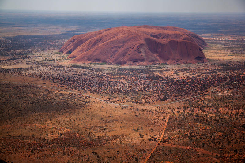 Ayers Rock from the Air. Aerial view of Ayers Rock (Uluru) in Australia stock photo