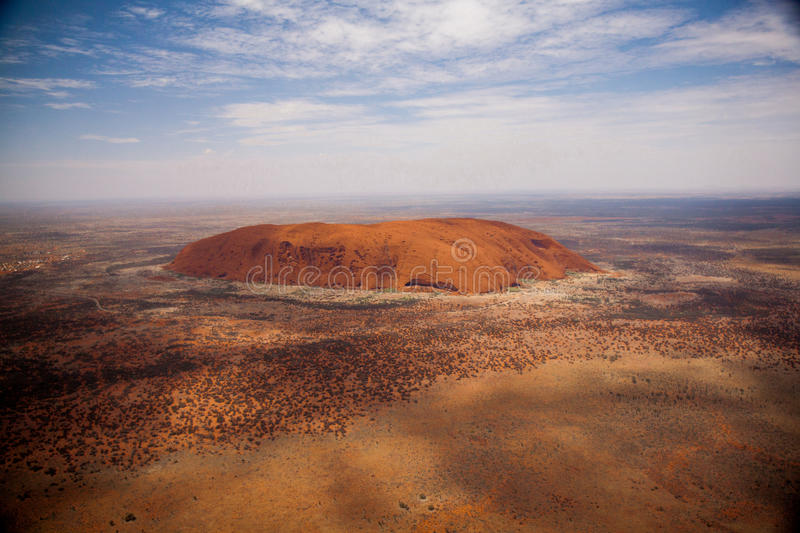 Ayers Rock from the Air. Aerial view of Ayers Rock (Uluru) in Australia stock photography