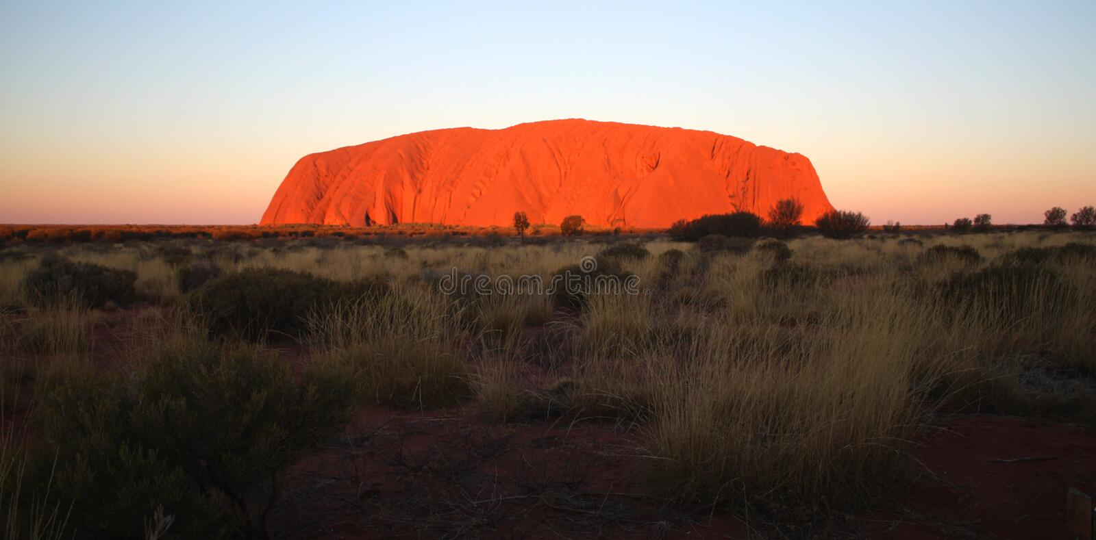 Ayers Rock Uluru. At Sunset in outback Northern Terrirtory Australia stock photos