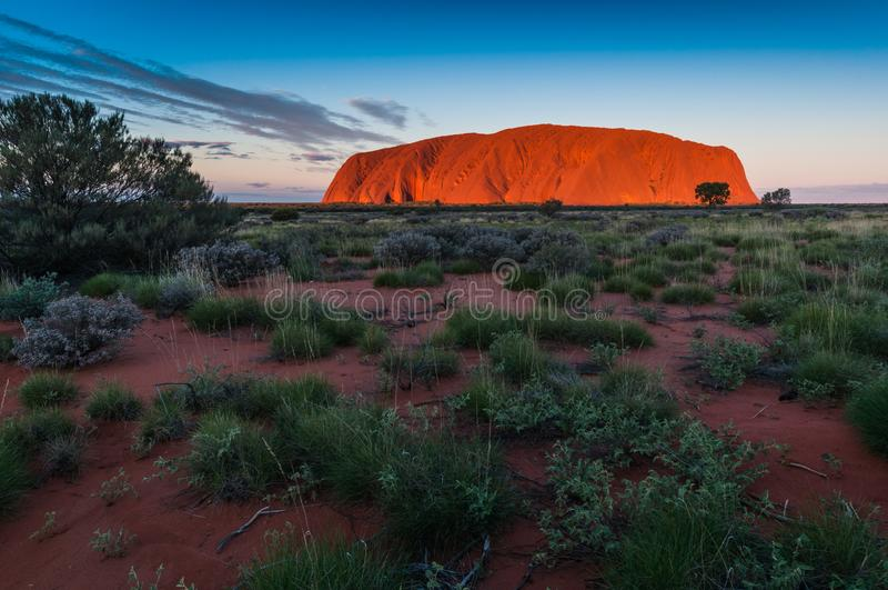 Ayers Rock Uluru. A sacred place for Anangu Aborigines stock photography