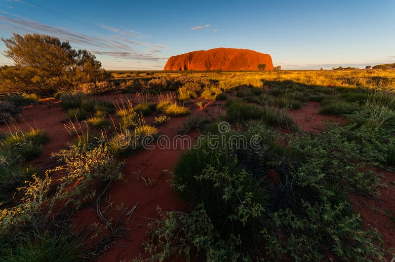 Ayers Rock Uluru. A sacred place for Anangu Aborigines stock image