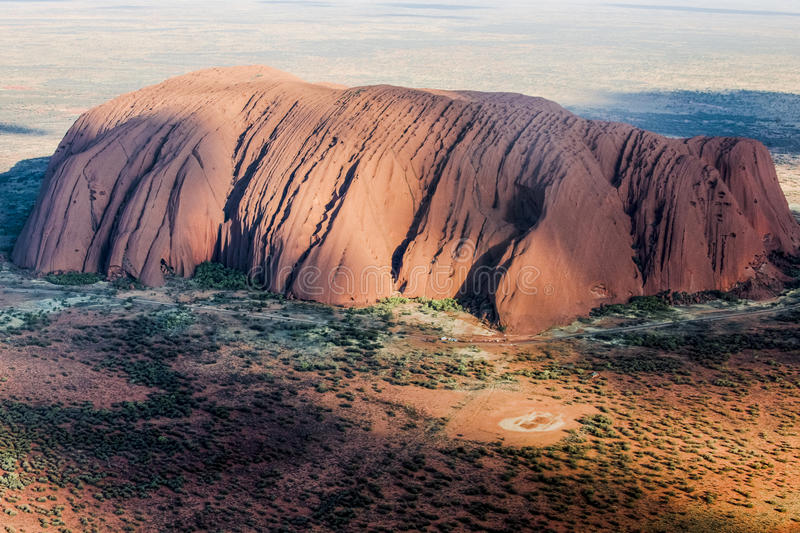 Ayers Rock aerial view. Aerial view of Ayers Rock - Uluru seen from heli stock photo