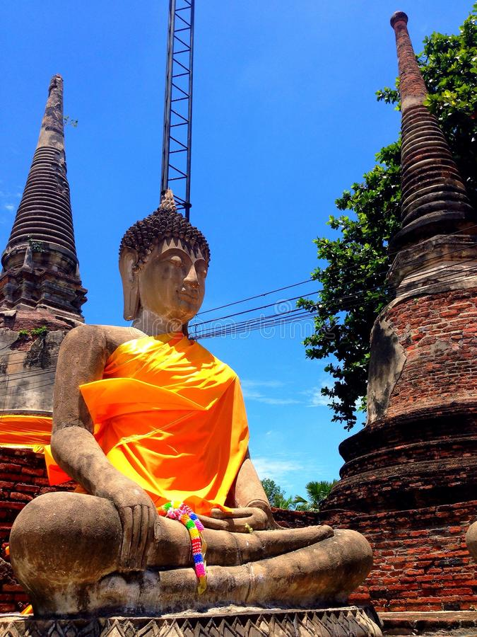Ayhuttaya, 24 Thailand-Augustus, 2014: Boeddhismebeeld en godsdienst royalty-vrije stock foto