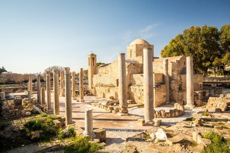Ayia kyriaki chrysopolitissa教会在帕福斯,塞浦路斯 库存图片