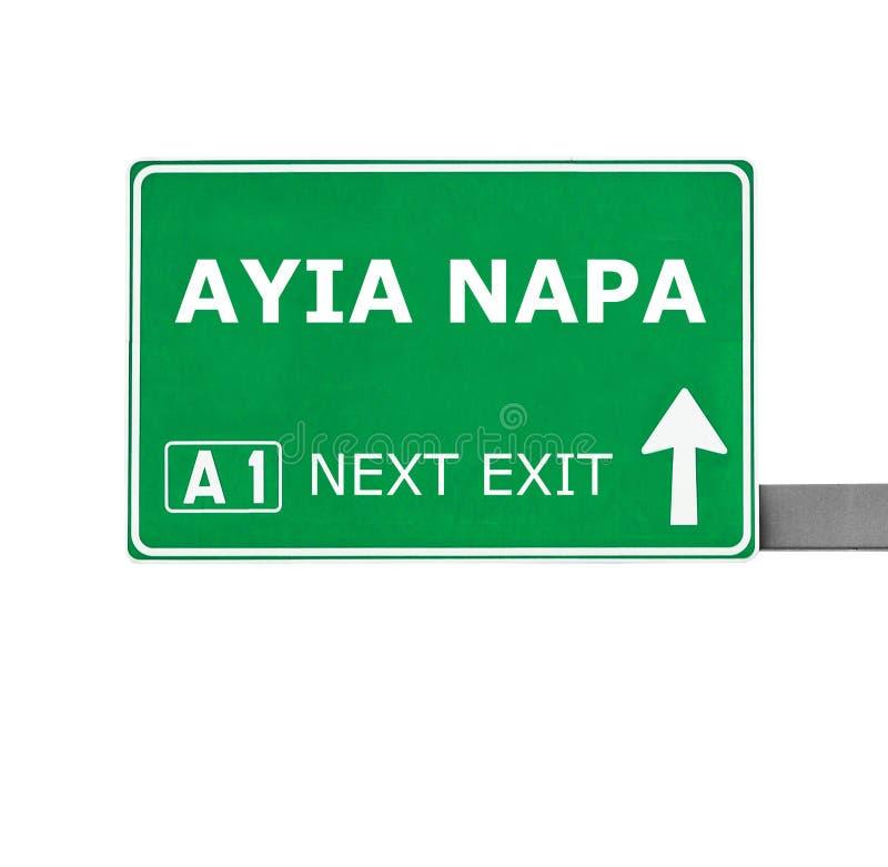 AYIA NAPA在白色隔绝的路标 免版税库存照片