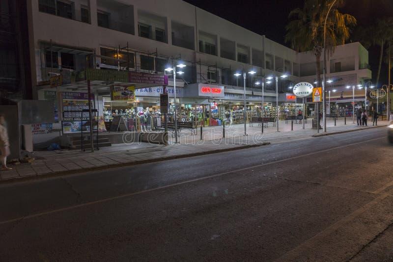 Ayia Napa街道,塞浦路斯 免版税库存照片