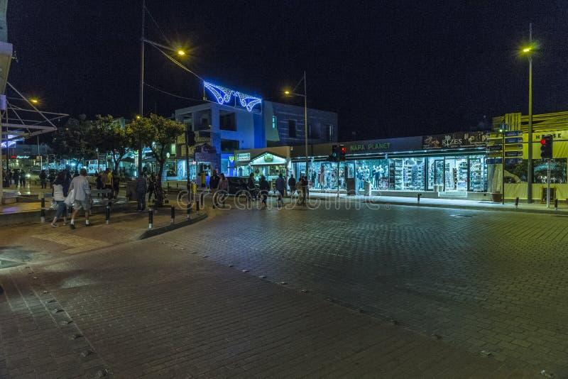 Ayia Napa街道,塞浦路斯 库存图片