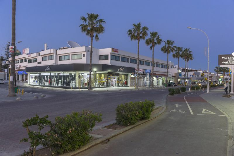 Ayia Napa街道,塞浦路斯 免版税库存图片