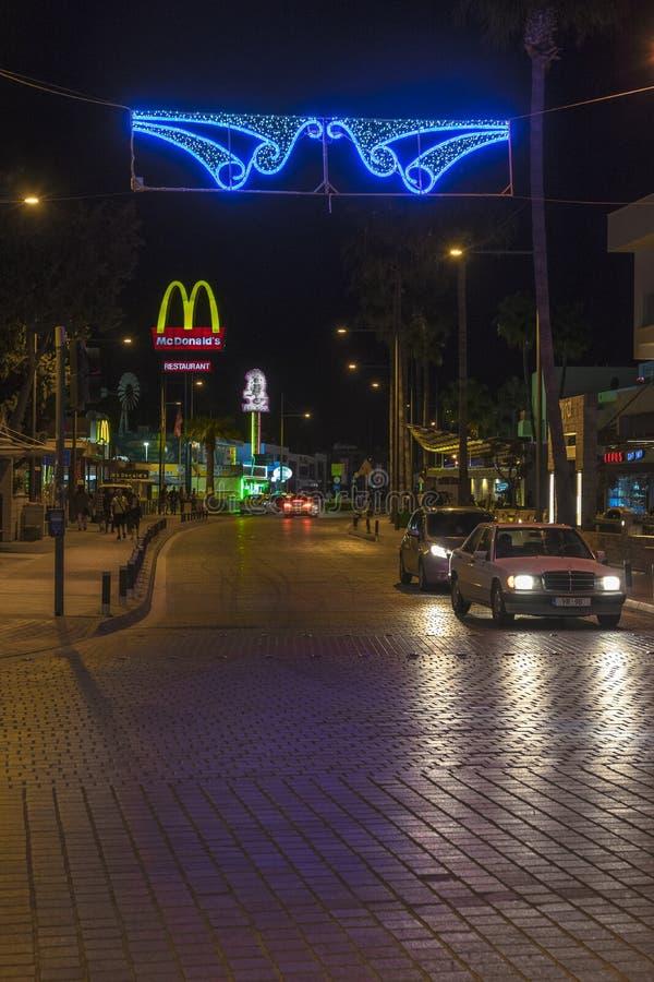 Ayia Napa街道,塞浦路斯 库存照片
